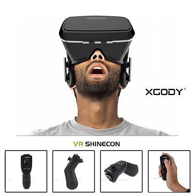 3D Virtual Reality Glasses Goggles Helmet Headset + Remote for iPhone Samsung