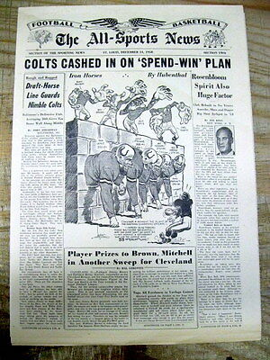 1958 newspaper w long preview report on the BALTIMORE COLTS b4 NFL Championship