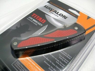 HAVALON Black Red TITAN 2 Blade Folding HUNTING Knife + Sheath + 12 Blades! TRED