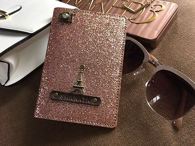 Passport cover bling personalized rose gold gift for girls, ladies travel world