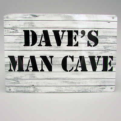 MAN CAVE PERSONALISED Metal Sign Ideal Gift For Bar Garage Shed Door Den Bedroom