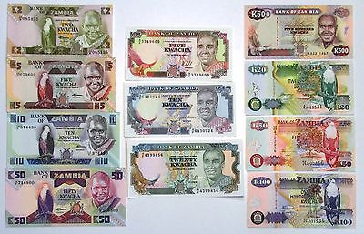 Zambia collection lot of 11 different banknotes all Unc