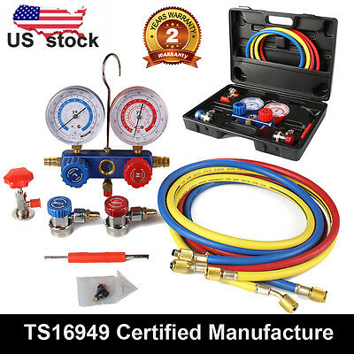 AC Refrigeration Kit A/C Manifold Gauge Set Air R12 R22 R134a R502 +Case