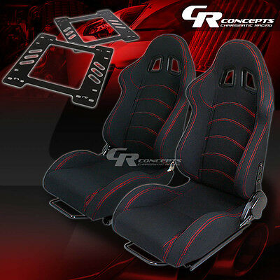 Reclining Type-1 Racing Seat Black Cloth X2+Bracket For 78-88 Monte Carlo A/g