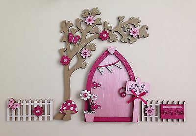 Magical Hand Painted Pink Blossom Fairy Door And Tree With Fencing