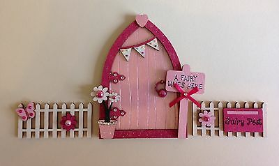 Magical Hand Painted Pink Blossom Fairy Door With Fencing