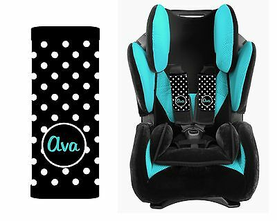 Monogrammed Baby Toddler Car Seat Strap Covers Black Polka Dots