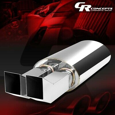 """2.5/""""INLET 3-3//8/"""" CHROME DUAL BENT TIP PERFORMANCE STAINLESS OVAL EXHAUST MUFFLER"""