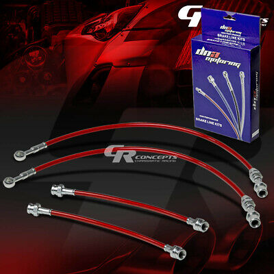 High Performance Stainless Steel Braided Brake Line/cable For 89-94 Maxima Red