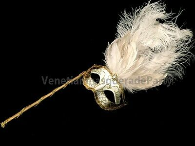 White Masquerade ball Ostrich feather stick Mask Costume Prom Wedding Party