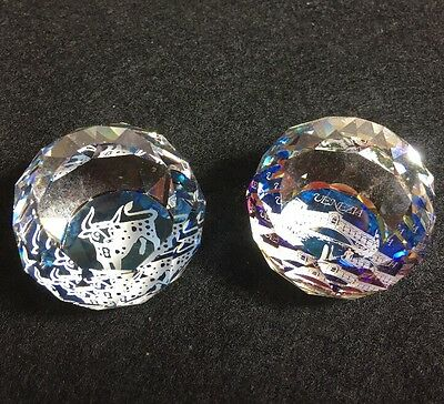 Souvenir Paperweight Clear Faceted Crystal Swarovski? Venezia Lot Of 2