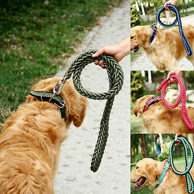 Large Dog Nylon Braided Rope Lead Useful Leashes Collar Traction Chain 4size