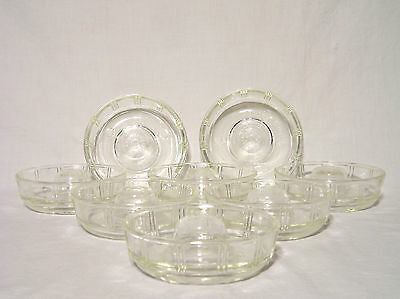 "Glasbake ""Little Princess"" Vintage Baking Ring Molds Set of 8 Patterned Glass"
