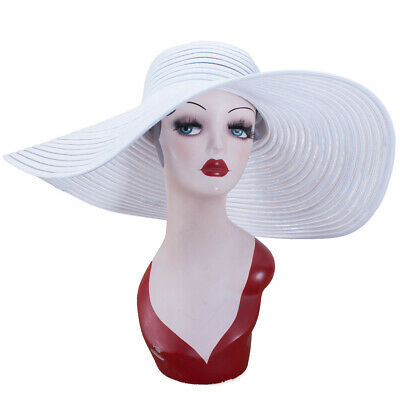 "New 6.7"" Women Church Kentucky Derby Wide Brim Summer Floppy Sun Beach Hat A349"