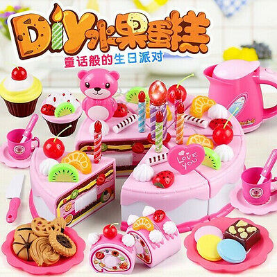 37x Pretend Play Cupcake Cake Birthday Cookie Models Early Education Kids Toys