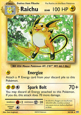 Pokemon XY Evolutions Raichu Holo Rare Card 36/108 MINT CONDITION