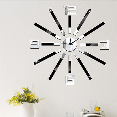 TY DIY Wall Clock Watch Home Office Room Decor 3D Mirror Surface Sticker wc1478