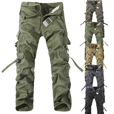 New Casual Men's Military Army Cargo Straight Combat Long Trousers Loose Pants