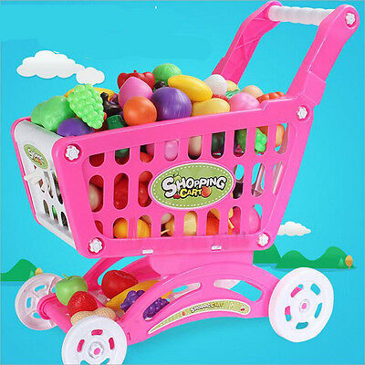 Hot Kids Childrens Shopping Trolley Cart Basket Role Play Toy Plastic Fruit