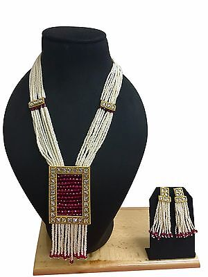 Indian Bollywood Ethnic Gold Plated Pearl Kundan Fashion Jewelry Necklace Set