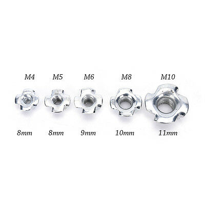 10pcs M4/M5/M6/M8/M10 Four Prongs Furnitures T Nut Inserts For Wood Zinc Plated