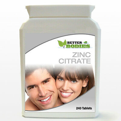 Zinc Citrate One a day Helps With Acne, Fertility, Healing 240 Tablets BOTTLE