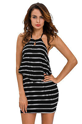 Mini Abito schiena aperta lacci trasparente Nudo Ruffle Striped dress clubwear S