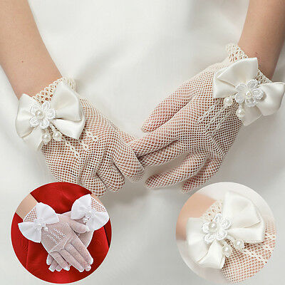 New Kids Cream Lace #L Pearl Fishnet Gloves Communion Wedding Flower Girl Party