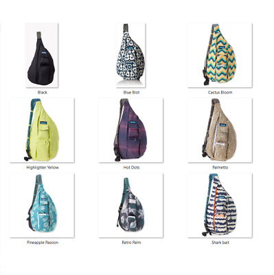 6a3b2cacd2 NEW KAVU ROPE Bag Backpack Travel Pack Hot Dots Black TURQUOISE Navy Deco  Tiles -  32.45