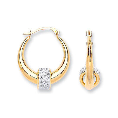 9ct Yellow Gold Hoop Earrings 18mm with White Stone Set Balls