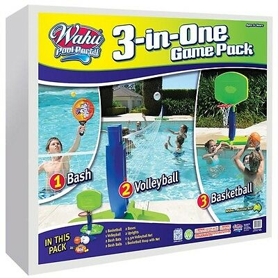 Wahu Pool Party Game Pack 3 In 1 Play Multiple Games Volleyball Basketball