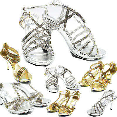 Ladies  Wedding Sandals Womens Mid-HIGH Heel Diamante Evening Prom Party Shoes