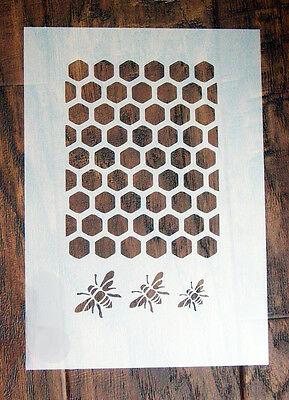 Bee Honeycomb Stencil Mask Reusable Mylar Sheet for Arts & Crafts