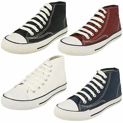 Kids Girls Boys Spot On Hi Top Baseball Canvas Lace Up Trainers Shoes X0002