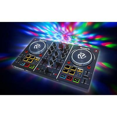 Numark Party Mix | 2-Deck DJ-Controller mit RGB LED Lichteffekt | Virtual DJ LE