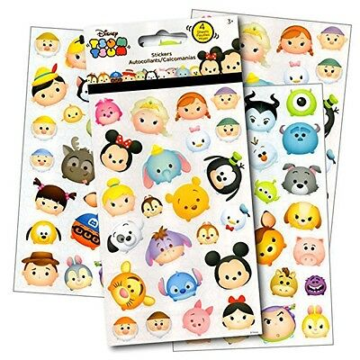 Disney Tsum Tsum Stickers - 4 Sheets of Stickers Featuring Mickey Mouse, Minnie