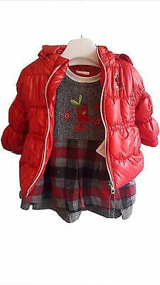 Baby Girls 3 Piece Pinafore Dress With Longsleeve Top & Jacket Red
