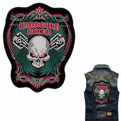 Hardcore Biker Skull Backpatch  XL 29x24cm Old School Rockabilly Kerosin MC