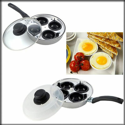 Quality 4 Cup Egg Poacher Pan Poached Non-Stick Cups Lidded Saucepan Cooking Pan