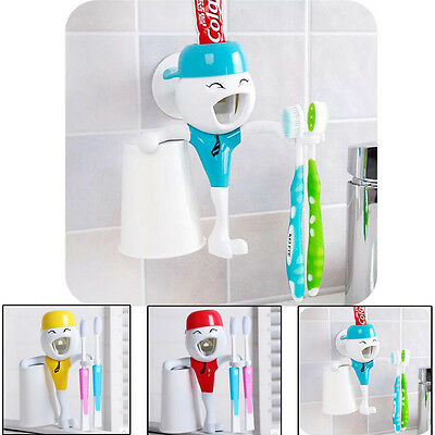 Automatic Toothpaste Dispenser Bathroom Toothbrush Holder Cup Gift For Kids NEW