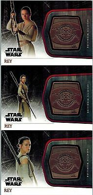 *STAR WARS The Force Awakens 1: Lot 3 Bronze Medallion Cards of Rey, M18-19-20