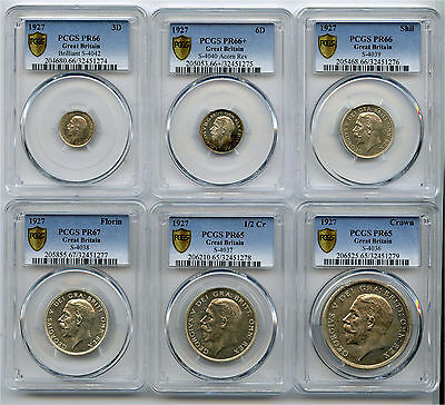 1927 Great Britain Silver 6 PC Set 3P, 6P,1S, 2s, 1/2C +1 Crown PCGS PF 65 to 67