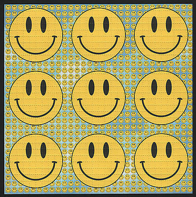 Smiley Blue 9 Panel  Quality Blotter Art Full Size Sheet Acid  House Rave