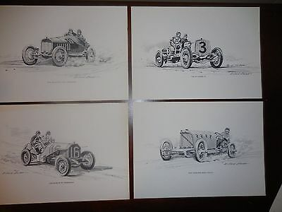 4 Vintage Racing Cars Illustrated by Richard Stevens Pictures Prints