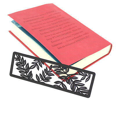 Vintage-bookmark for easy reading hollow note-wood-paint in black leave