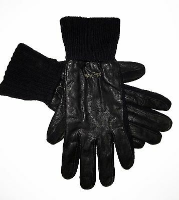 Men`s Gloves Replay Urban Casual Luxury Designer Leather Wool Black New Size: L