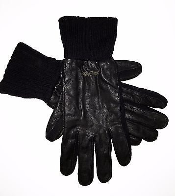 Replay Men`s Gloves Urban Casual Luxury Designer Leather Wool Black New Size: L