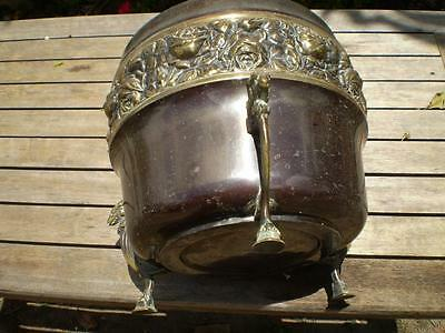 Vintage Collectable Brass Halah ware made in England planter pot Rams & Roses