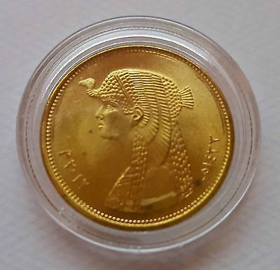 Egypt Golden 50 Piastres Queen Cleopatra Coin Unc Capsuled No Longer Minted
