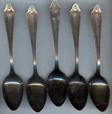 5 Silverplated 5 O'Clock Spoons - 1912 Georgian Pattern - Community Plate